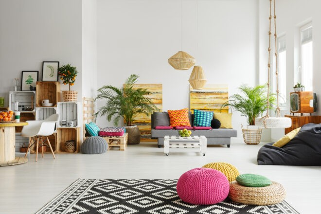 a living room interior design mixing neutrals with contrasting color
