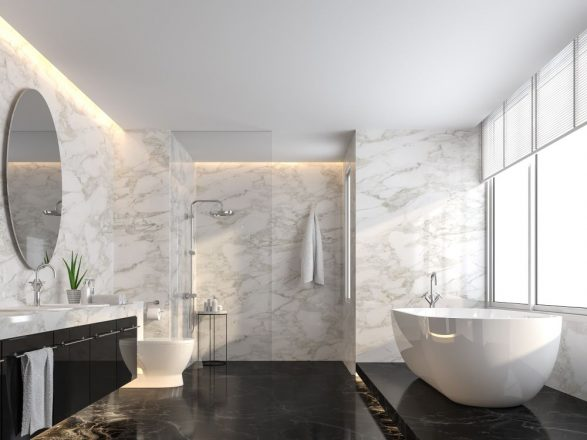 black and whit marble bathroom