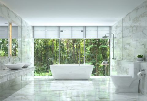 bathroom overlooking the forest