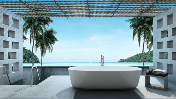 bathroom design with a view of the sea